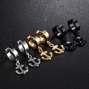 Stainless Steel anchor Leaves Dangle  Earrings